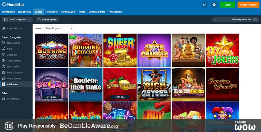 NordicBet Casino Games